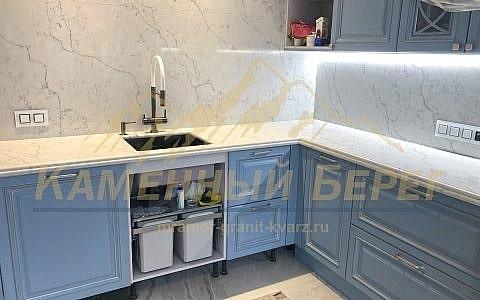Technistone Mystery White в интерере кухни