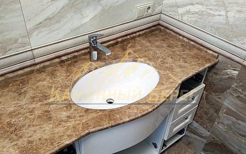 Столешница в ванную из камня Light Emperador 20 мм